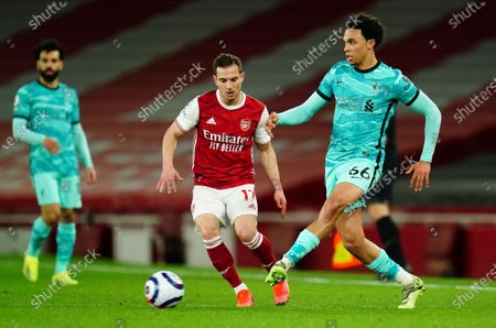 Trent Alexander-Arnold of Liverpool and Cedric Soares of Arsenal
