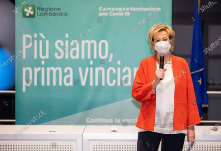 Vice Governor and Health and Welfare Minister of Lombardy Letizia Moratti attends the press conference at the end of the visit in Lombardy at MiCo - Milano Convention Centre on March 31, 2021 in Milan, Italy.