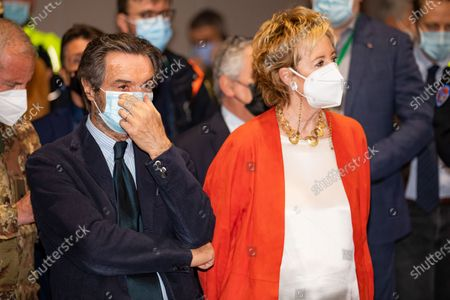 Governor of Lombardy Attilio Fontana and Vice Governor and Health and Welfare Minister of Lombardy Letizia Moratti attend the press conference at the end of the visit in Lombardy at MiCo - Milano Convention Centre on March 31, 2021 in Milan, Italy.