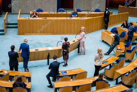 Former scouts Annemarie Jorritsma and Kajsa Ollongren and MPs Wopke Hoekstra (CDA), Geert Wilders (PVV), Mark Rutte (VVD), Lilianne Ploumen (Pvda), Lilian Marijnissen (SP), Sigrid Kaag (D66) and Jesse Klaver (Green Left) attend a debate about the failed explorations for a government formation, at the Lower House in The Hague, The Netherlands, 31 March 2021. Pathfinders Ollongren and Jorritsma stepped down after notes from the cabinet formation process appeared in public.