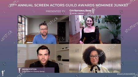 Stock Photo of Julian Ovenden, Ruth Gemmell, Luke Newton and Golda Rosheuvel - Bridgerton - Ensemble in a Drama Series
