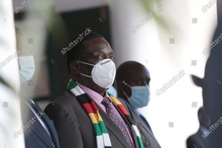 Zimbabwean President Emmerson Mngangagwa during a meeting with Botswana President Mokgweetsi Masisi (not seen) at the State House in Harare, Zimbabwe, 31 March 2021. Masisi is on a one day working visit to Zimbabwe.               .