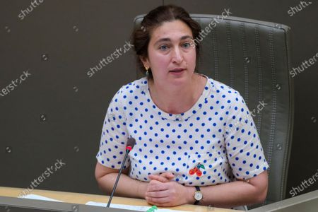 Flemish Minister of Environment, Energy, Tourism and Justice Zuhal Demir pictured during a plenary session of the Flemish Parliament in Brussels, Wednesday 31 March 2021.