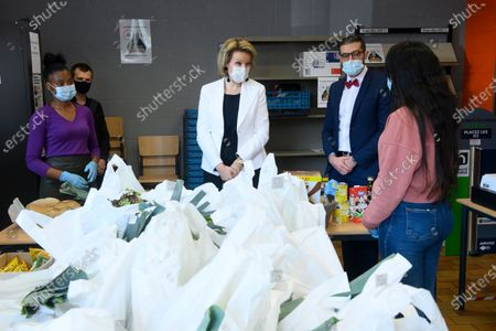 Queen Mathilde of Belgium pictured during a royal visit to the association called ASEB, association for the students solidarity in Belgium which delivers alimentary help to students in precarity and the number of students is rising with the Covid-19 pandemic, in Namur, Wednesday 31 March 2021.