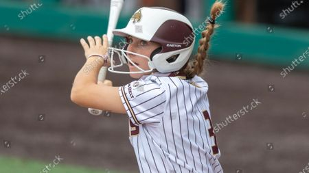 Texas State's Hannah Earls connects with a Texas State pitch during an NCAA softball game, in San Marcos, Texas
