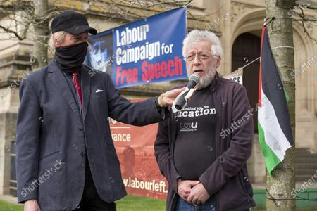 Stock Photo of ; Bristol, UK. Academic Dr. RON MENDEL speaks at a coalition of Labour Left organisations including Labour Campaign for Free Speech and speakers hold a lobby in defence of academic freedom and Professor David Miller outside Bristol University. Around 50 protesters assembled at 2pm outside the Wills Memorial Building to express solidarity and support for Professor Miller who has been suspended by the University of Bristol over allegations of anti-semitism. Speakers included Dr. Eldin Fahmy, Senior Lecturer of Policy Studies at University of Bristol, Sandy Kennedy, a former graduate from Bristol University, who has worked in an Israeli Kibbutz, and there were messages of support from Roger Waters, Alexei Sayle, Chris Williamson MP, Ken Loach, and Jonathan Cook.