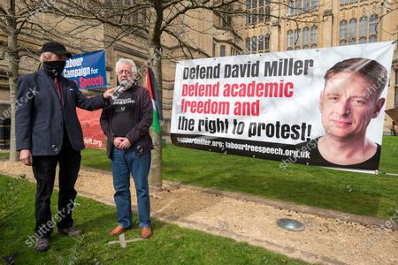 ; Bristol, UK. Academic Dr. RON MENDEL speaks at a coalition of Labour Left organisations including Labour Campaign for Free Speech and speakers hold a lobby in defence of academic freedom and Professor David Miller outside Bristol University. Around 50 protesters assembled at 2pm outside the Wills Memorial Building to express solidarity and support for Professor Miller who has been suspended by the University of Bristol over allegations of anti-semitism. Speakers included Dr. Eldin Fahmy, Senior Lecturer of Policy Studies at University of Bristol, Sandy Kennedy, a former graduate from Bristol University, who has worked in an Israeli Kibbutz, and there were messages of support from Roger Waters, Alexei Sayle, Chris Williamson MP, Ken Loach, and Jonathan Cook.