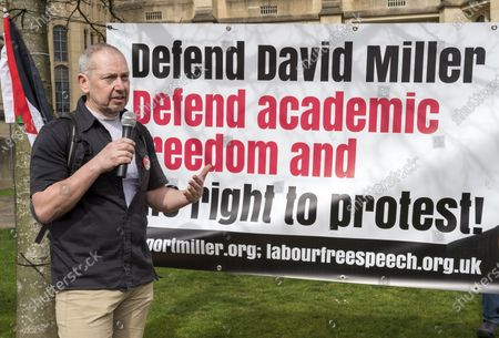 Stock Image of ; Bristol, UK. Dr. ELDIN FAHMY speaks at a coalition of Labour Left organisations including Labour Campaign for Free Speech and speakers hold a lobby in defence of academic freedom and Professor David Miller outside Bristol University. Around 50 protesters assembled at 2pm outside the Wills Memorial Building to express solidarity and support for Professor Miller who has been suspended by the University of Bristol over allegations of anti-semitism. Speakers included Dr. Eldin Fahmy, Senior Lecturer of Policy Studies at University of Bristol, Sandy Kennedy, a former graduate from Bristol University, who has worked in an Israeli Kibbutz, and there were messages of support from Roger Waters, Alexei Sayle, Chris Williamson MP, Ken Loach, and Jonathan Cook.