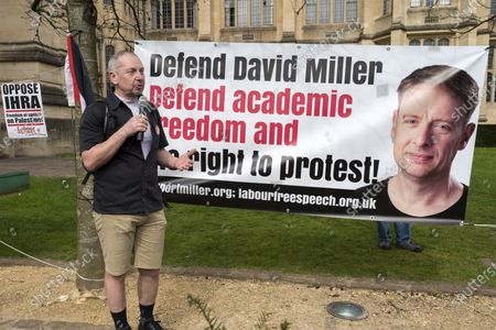 ; Bristol, UK. Dr. ELDIN FAHMY speaks at a coalition of Labour Left organisations including Labour Campaign for Free Speech and speakers hold a lobby in defence of academic freedom and Professor David Miller outside Bristol University. Around 50 protesters assembled at 2pm outside the Wills Memorial Building to express solidarity and support for Professor Miller who has been suspended by the University of Bristol over allegations of anti-semitism. Speakers included Dr. Eldin Fahmy, Senior Lecturer of Policy Studies at University of Bristol, Sandy Kennedy, a former graduate from Bristol University, who has worked in an Israeli Kibbutz, and there were messages of support from Roger Waters, Alexei Sayle, Chris Williamson MP, Ken Loach, and Jonathan Cook.