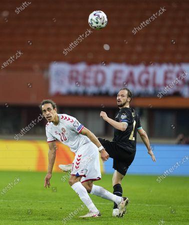 Yussuf Poulsen of Denmark and Andreas Ulmer of Austria during Austria and Denmark on Ernst-Happel-Stadion stadium, Vienna, Austria