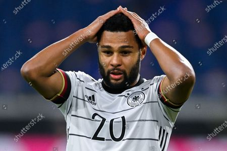 Germany's Serge Gnabry reacts during the FIFA World Cup 2022 qualifying soccer match between Germany and North Macedonia in Duisburg, Germany, 31 March 2021.