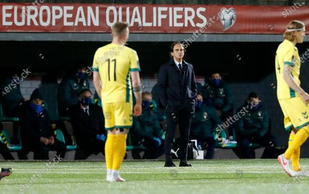 Italy coach Roberto Mancini stands during the World Cup 2022 Group C qualifying soccer match between Lithuania and Italy at LFF stadium in Vilnius