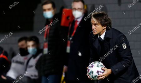 Head coach of Italy Roberto Mancini reacts during 2022 FIFA World Cup qualification group C soccer match between Lithuania and Italy in Vilnius, Lithuania, 31 March 2021.