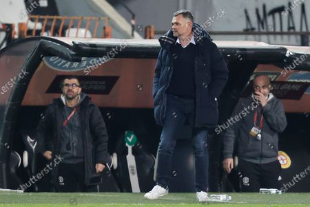 Georgia's coach Willy Sagnol during the FIFA World Cup 2022 qualifying match between Greece and Georgia at the Toumpa stadium in Thessaloniki, Greece, 31 March 2021.