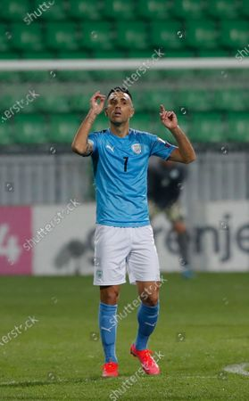 Israel's player Eran Zahavi reacts after scoring during the FIFA World Cup 2022 qualifiers match between Moldova and Israel at Zimbru stadium in Chisinau, Moldova, 31 March 2021.