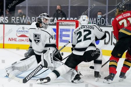 Vegas Golden Knights center William Karlsson, right, scores against Los Angeles Kings goaltender Calvin Petersen (40) during the second period of an NHL hockey game, in Las Vegas