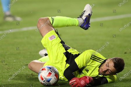 New England Revolution goalkeeper Matt Turner (30) makes a save during the game between the New England Revolution and the Los Angeles Galaxy at Dignity Health Sports Park in Los Angeles, CA., USA. (Photo by Peter Joneleit)