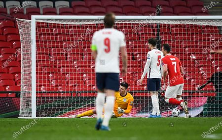 Nick Pope goalkeeper of England can't save the shot from Jakub Moder of Poland who scores 1-1