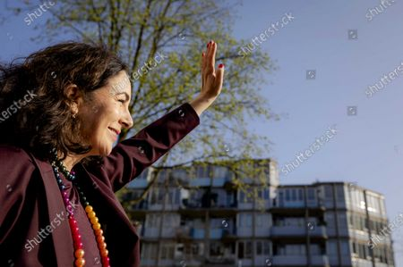 Stock Image of Mayor Femke Halsema of Amsterdam waves at an anniversary boat, during the 'celebration of 20 years of marriage for everyone' in Amsterdam, the Netherlands, 01 April 2021.  Exactly 20 years ago, The Netherlands was the first country in the world to legalize same sex marriage.