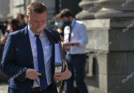 Stock Image of Michael McGrath, Irish Minister for Public Expenditure and Reform arriving at Government Buildings in Dublin before the Cabinet meeting.On Tuesday, 30 March, 2021, in Dublin, Ireland.
