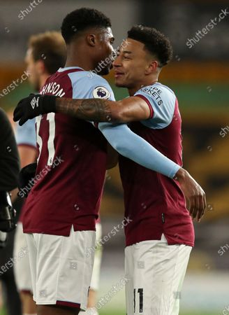 Stock Photo of Ben Johnson of West Ham and Jesse Lingard celebrate at full time