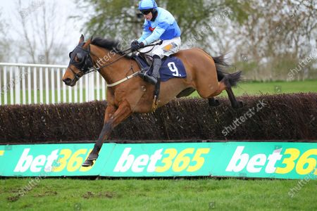 Stock Photo of Hard To Forget and James Davies win the attheraces.com Handicap Chase at Uttoxeter.