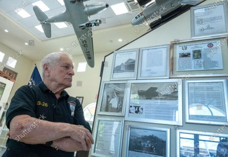 Salvador Miralles, B-26 bomber pilot member of the Brigade 2506, speaks about the 1961's invasion to Cuba at the Museum of the Assault Brigade 2506 in Hialeah Garden, Florida, USA, 25 March 2021. The Bay of Pigs Invasion in April 1961 was a failed attack launched by the CIA during the Kennedy administration to topple Cuban leader Fidel Castro. The Brigade 2506 was formed in 1960, by Cuban exiles, to attempt military incursion to Cuba.