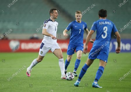 Serbia's player Uros Spajic in action during the FIFA World Cup Qatar 2022 qualification Group A match between Azerbaijan and Serbia at the Baku Olympic Stadium in Baku, Azerbaijan on March 30, 2021.