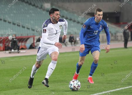 Serbia's player Nemanja Radonjic (7) in action during the FIFA World Cup Qatar 2022 qualification Group A game between Azerbaijan and Serbia at the Baku Olympic Stadium in Baku, Azerbaijan on March 30, 2021.