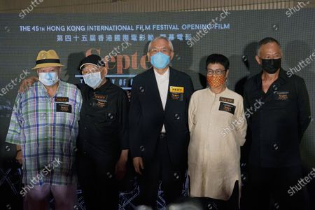"""From right, Joining Hong Kong directors Johnnie To, Ann Hui, Patrick Tam Kar Ming, Yuen Woo-ping and Sammo Hung, attend the movie premiere for their movie """"Septet: The Story of Hong Kong"""" during the 45th Hong Kong International Film Festival, in Hong Kong"""