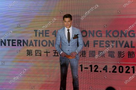"Hong Kong actor Aaron kwok, who stars in the movie ""Where the Wind Blows"", poses for photographers during the 45th Hong Kong International Film Festival, in Hong Kong"
