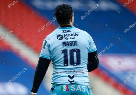 Stock Photo of Wakefield Trinity's Tinirau Arona wears a Mase Masoe number 10 shirt