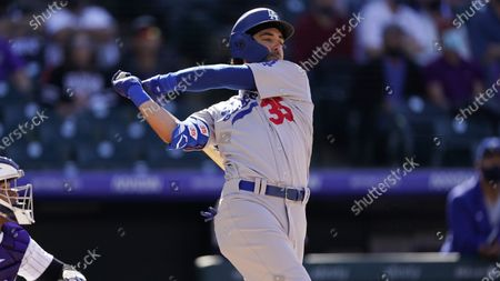 Los Angeles Dodgers center fielder Cody Bellinger (35) in the sixth inning of a baseball game, in Denver