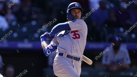 Los Angeles Dodgers center fielder Cody Bellinger (35) in the fifth inning of a baseball game, in Denver