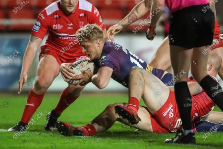 Stock Photo of St Helens' Aaron Smith scores a try.