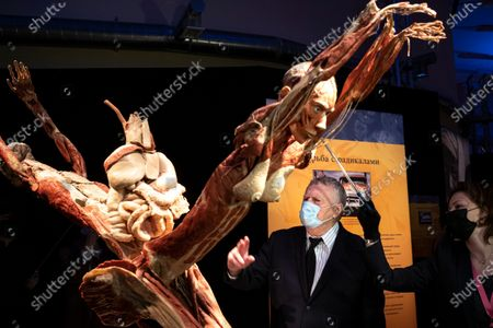 Stock Photo of Russian Liberal Democratic Party leader Vladimir Zhirinovsky gestures speaking to the media as he visits the exhibition of Body Worlds at VDNKh (The Exhibition of Achievements of National Economy) in Moscow, Russia, . Body Worlds elicited outrage among some Russian lawmakers and conservative activists. Activists complained that the exhibition of preserved human bodies may be offending religious believers' feelings, and Russia's Investigative Committee launched an inquiry to ensure Body Worlds is in line with Russian laws