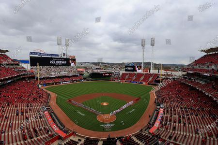 Stock Image of View of the video boards as the Cincinnati honors former player Joe Morgan prior to a baseball game between the St. Louis Cardinals and the Cincinnati Reds in Cincinnati, . The Cardinals won 11-6