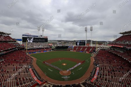 Stock Photo of View of the video boards as the Reds honor Hank Aaron prior to a baseball game between the St. Louis Cardinals and the Cincinnati Reds in Cincinnati, . The Cardinals won 11-6