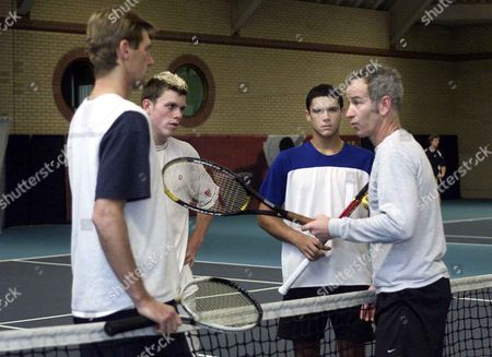 John Mcenroe Host A Coaching Session At Queens Club As Part Of A Rolling Programme Set Up By The Lta. With Miles Kasiri (r) Josh Goodall And Peter Fleming