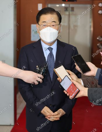 South Korea's Foreign Minister Chung Eui-yong speaks to reporters at the government complex before he departs for the southeastern Chinese city of Xiamen to hold talks with his Chinese counterpar Wang Yi, in Seoul, South Korea, 02 April 2021. Chung will discuss bilateral ties with China, the Korean Peninsula situation and regional and global issues.