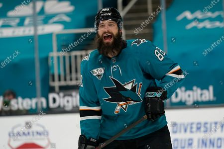 San Jose Sharks defenseman Brent Burns (88) against the Minnesota Wild during an NHL hockey game in San Jose, Calif
