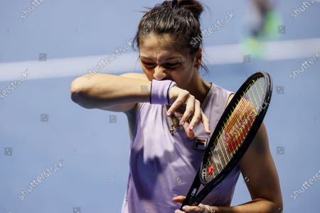 Margarita Gasparyan of Russia reacts during her WTA St. Petersburg Ladies Trophy 2021 tennis tournament final match against Daria Kasatkina of Russia on March 21, 2021 at Sibur Arena in Saint Petersburg, Russia.