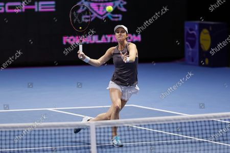 Kaitlyn Christian of United States returns the ball during her women's doubles final match with partner Sabrina Santamaria against Nadiia Kichenok of Ukraine and Raluca Olaru of Romania at 2021 WTA St. Petersburg Ladies Trophy tennis tournament on March 21, 2021 at Sibur Arena in Saint Petersburg, Russia.