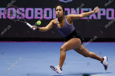 Sabrina Santamaria of United States returns the ball during her women's doubles final match with partner Kaitlyn Christian against Nadiia Kichenok of Ukraine and Raluca Olaru of Romania at 2021 WTA St. Petersburg Ladies Trophy tennis tournament on March 21, 2021 at Sibur Arena in Saint Petersburg, Russia.