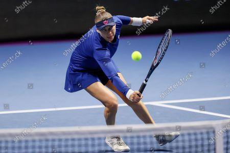 Vera Zvonareva of Russia returns the ball to Margarita Gasparyan of Russia during their WTA St. Petersburg Ladies Trophy 2021 tennis tournament semi-final match on March 20, 2021 at Sibur Arena in Saint Petersburg, Russia.