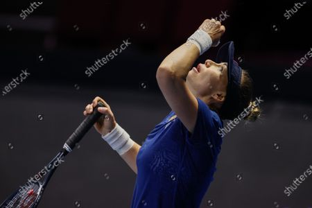 Vera Zvonareva of Russia reacts during her WTA St. Petersburg Ladies Trophy 2021 tennis tournament semi-final match against Margarita Gasparyan of Russia on March 20, 2021 at Sibur Arena in Saint Petersburg, Russia.
