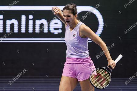 Margarita Gasparyan of Russia celebrates during her WTA St. Petersburg Ladies Trophy 2021 tennis tournament semi-final match against Vera Zvonareva of Russia on March 20, 2021 at Sibur Arena in Saint Petersburg, Russia.
