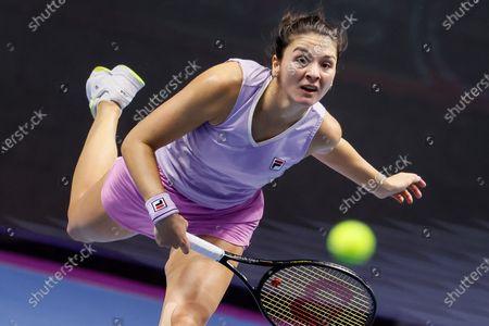 Stock Image of Margarita Gasparyan of Russia serves the ball during her WTA St. Petersburg Ladies Trophy 2021 tennis tournament semi-final match against Vera Zvonareva of Russia on March 20, 2021 at Sibur Arena in Saint Petersburg, Russia.
