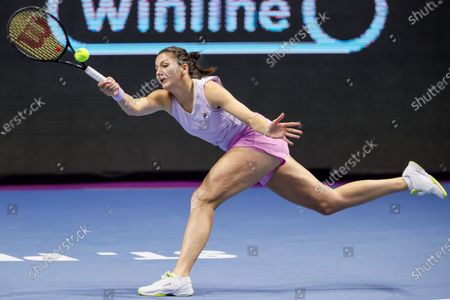 Stock Photo of Margarita Gasparyan of Russia returns the ball to Vera Zvonareva of Russia during their WTA St. Petersburg Ladies Trophy 2021 tennis tournament semi-final match on March 20, 2021 at Sibur Arena in Saint Petersburg, Russia.
