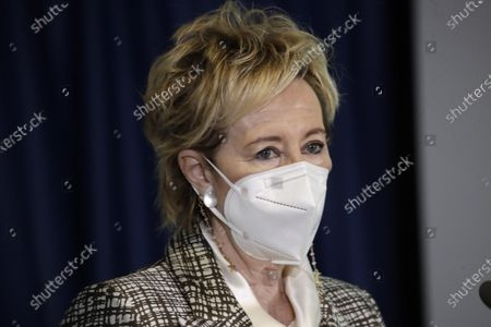 Stock Picture of Vice Governor and Health and Welfare Minister of Lombardy Letizia Moratti attends a news conference at Lombardy region headquarter, in Milan, Italy